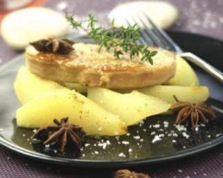 Recette foie gras poêlé et poires pochées