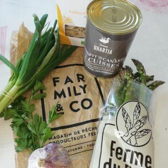Recette penne au confit de canard aux champignons et asperges vertes façon risotto