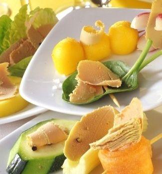 Recette farandole de légumes et fruits au foie gras