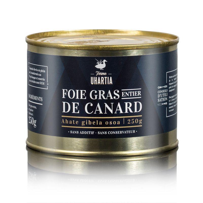 Foie gras entier de canard au naturel conserve