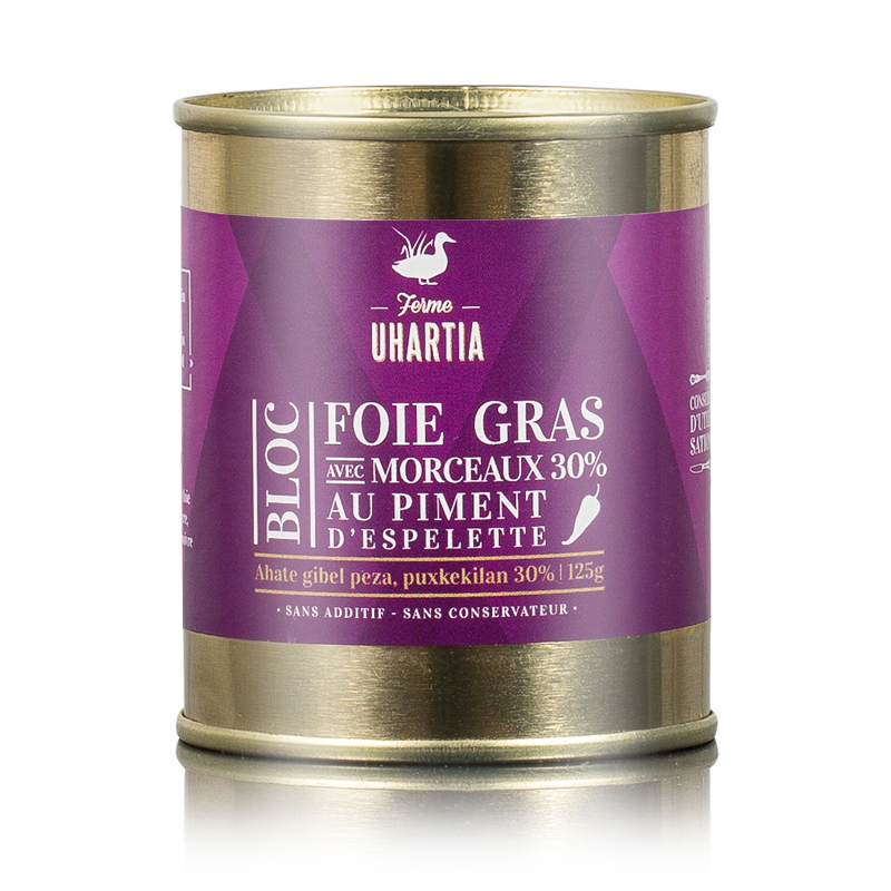 Bloc de foie gras  de canard au piment d'Espelette